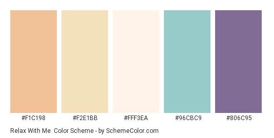 Relax with Me - Color scheme palette thumbnail - #f1c198 #f2e1bb #fff3ea #96cbc9 #806c95