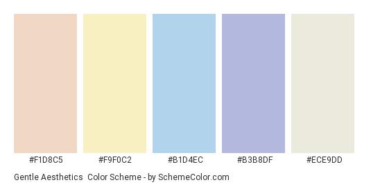 Gentle Aesthetics - Color scheme palette thumbnail - #f1d8c5 #f9f0c2 #b1d4ec #b3b8df #ece9dd
