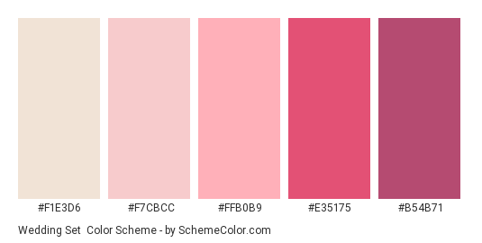 Wedding Set - Color scheme palette thumbnail - #f1e3d6 #f7cbcc #ffb0b9 #e35175 #b54b71