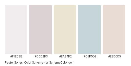 Pastel Songs - Color scheme palette thumbnail - #f1edee #dcd2d3 #eae4d2 #c6d5d8 #e8dcd5