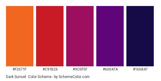 Dark Sunset Color Scheme Palette Thumbnail F2671f C91b26 9c0f5f 60047a