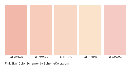 Pink Skin - Color scheme palette thumbnail - #f2b9ab #f7ccbb #f8d8c5 #fbe3cb #f6cac4