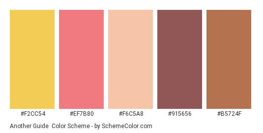 Another Guide - Color scheme palette thumbnail - #f2cc54 #ef7b80 #f6c5a8 #915656 #b5724f