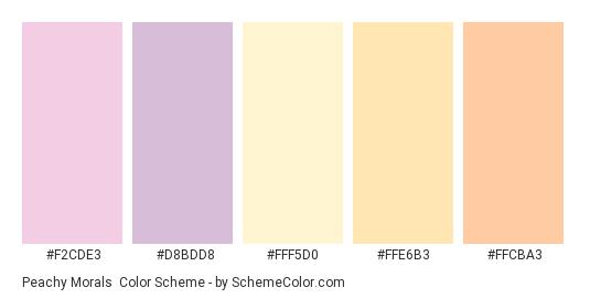 Peachy Morals - Color scheme palette thumbnail - #f2cde3 #d8bdd8 #fff5d0 #ffe6b3 #ffcba3