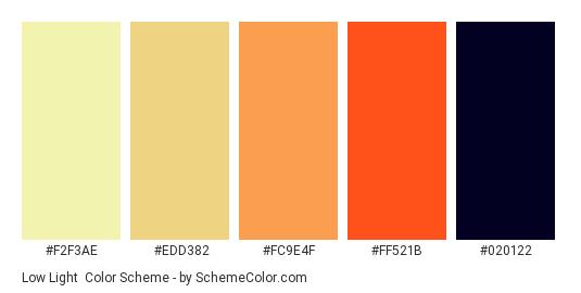 Low Light - Color scheme palette thumbnail - #f2f3ae #edd382 #fc9e4f #ff521b #020122