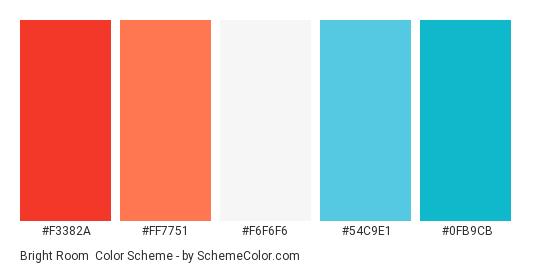 Bright Room - Color scheme palette thumbnail - #f3382a #ff7751 #f6f6f6 #54c9e1 #0fb9cb