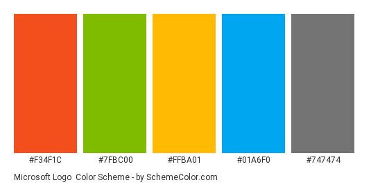Microsoft Logo - Color scheme palette thumbnail - #f34f1c #7fbc00 #ffba01 #01a6f0 #747474