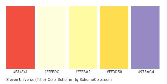 Steven Universe (Title) - Color scheme palette thumbnail - #f34f41 #fffedc #fffba2 #ffdd50 #978ac4