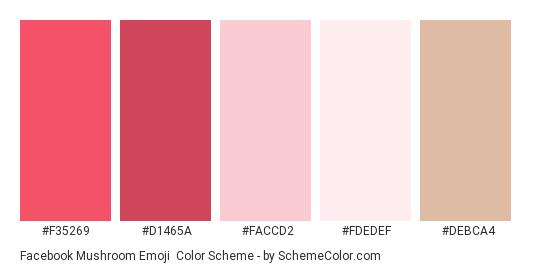 Facebook Mushroom Emoji - Color scheme palette thumbnail - #f35269 #d1465a #faccd2 #fdedef #debca4