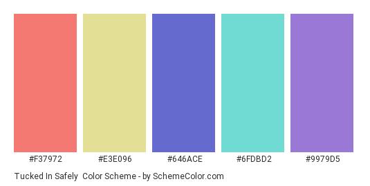 Tucked in Safely - Color scheme palette thumbnail - #f37972 #e3e096 #646ace #6fdbd2 #9979d5