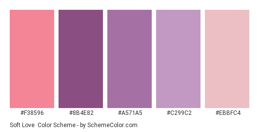 Soft Love Color Scheme Palette Thumbnail F38596 8b4e82 A571a5 C299c2