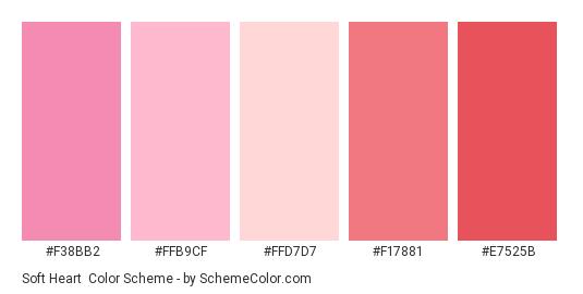 Soft Heart - Color scheme palette thumbnail - #f38bb2 #ffb9cf #ffd7d7 #f17881 #e7525b