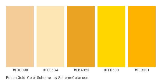 Peach Gold - Color scheme palette thumbnail - #f3cc98 #fee6b4 #eba323 #FFD600 #feb301