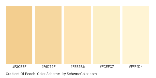 Gradient of Peach - Color scheme palette thumbnail - #f3ce8f #f6d79f #fee5b6 #fcefc7 #fff4d4