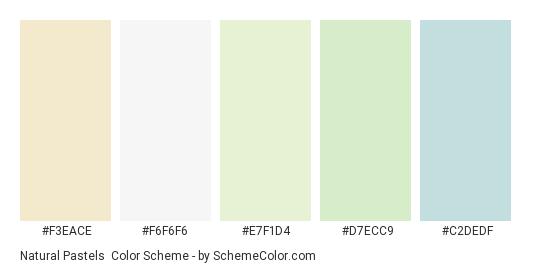 Natural Pastels - Color scheme palette thumbnail - #f3eace #f6f6f6 #e7f1d4 #d7ecc9 #c2dedf
