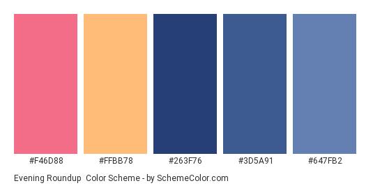 Evening Roundup - Color scheme palette thumbnail - #f46d88 #ffbb78 #263f76 #3d5a91 #647fb2