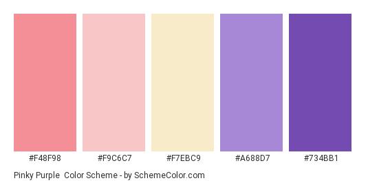 Pinky Purple Color Scheme Palette Thumbnail F48f98 F9c6c7 F7ebc9 A688d7