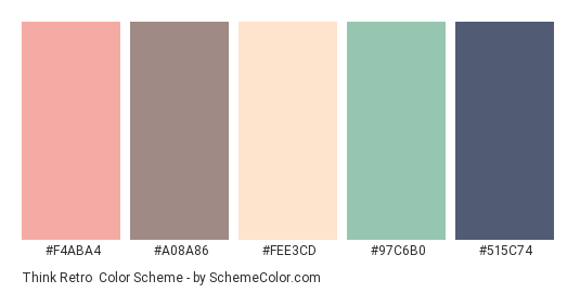 Think Retro - Color scheme palette thumbnail - #f4aba4 #a08a86 #fee3cd #97c6b0 #515c74
