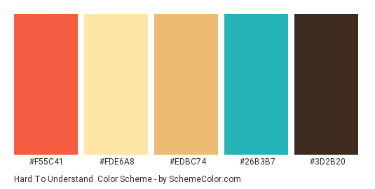 Hard to Understand - Color scheme palette thumbnail - #f55c41 #fde6a8 #edbc74 #26b3b7 #3d2b20