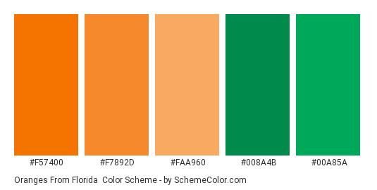 Oranges from Florida - Color scheme palette thumbnail - #f57400 #f7892d #faa960 #008a4b #00a85a