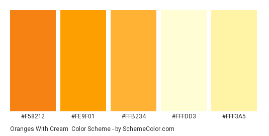 Oranges with Cream - Color scheme palette thumbnail - #f58212 #fe9f01 #ffb234 #fffdd3 #fff3a5