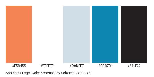 Sonicbids Logo - Color scheme palette thumbnail - #f58455 #ffffff #d0dfe7 #0d87b1 #231f20