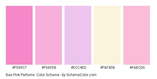 Bae Pink Perfume - Color scheme palette thumbnail - #f589c7 #f9afdb #ecc4ed #faf4db #fabcd6