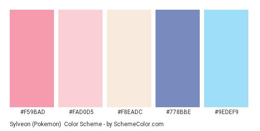 Sylveon (Pokemon) - Color scheme palette thumbnail - #f59bad #fad0d5 #f8eadc #778bbe #9edef9