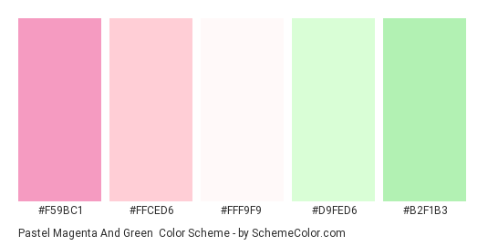 Pastel Magenta and Green - Color scheme palette thumbnail - #f59bc1 #ffced6 #fff9f9 #d9fed6 #b2f1b3