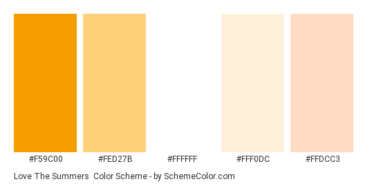 Love the Summers - Color scheme palette thumbnail - #f59c00 #fed27b #ffffff #fff0dc #ffdcc3