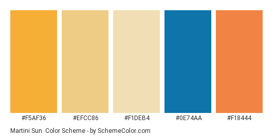 Martini Sun - Color scheme palette thumbnail - #f5af36 #efcc86 #f1deb4 #0e74aa #f18444