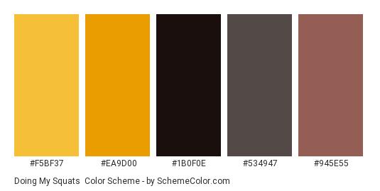 Doing my Squats - Color scheme palette thumbnail - #f5bf37 #ea9d00 #1b0f0e #534947 #945e55