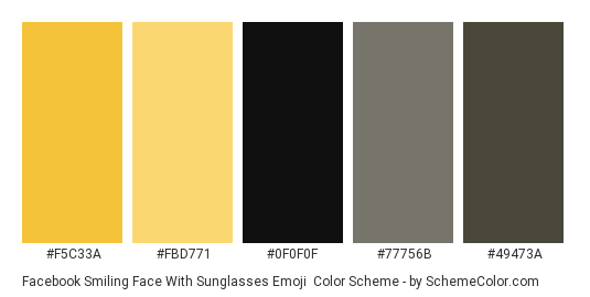 Facebook Smiling Face With Sunglasses Emoji - Color scheme palette thumbnail - #f5c33a #fbd771 #0f0f0f #77756b #49473a