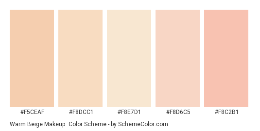 Warm Beige Makeup - Color scheme palette thumbnail - #f5ceaf #f8dcc1 #f8e7d1 #f8d6c5 #f8c2b1