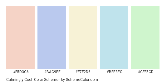 Calmingly Cool - Color scheme palette thumbnail - #f5d3c6 #bac9ee #f7f2d6 #bfe3ec #cff5cd