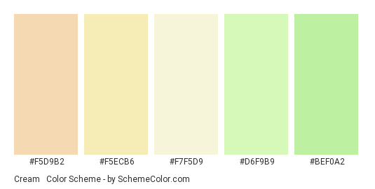 Cream & Green Wedding - Color scheme palette thumbnail - #f5d9b2 #f5ecb6 #f7f5d9 #d6f9b9 #bef0a2