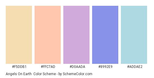 Angels on Earth - Color scheme palette thumbnail - #f5ddb1 #ffc7ad #d0aada #8992e9 #addae2