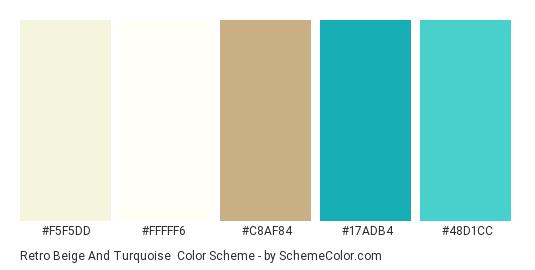 Retro Beige and Turquoise - Color scheme palette thumbnail - #f5f5dd #fffff6 #c8af84 #17adb4 #48d1cc