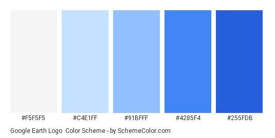 Google Earth Logo - Color scheme palette thumbnail - #f5f5f5 #c4e1ff #91bfff #4285f4 #255fdb