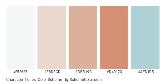 Character Tones - Color scheme palette thumbnail - #f5f6f6 #e8d8cd #dbb19c #d49173 #aed1d5