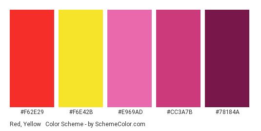 Red, Yellow & Purple - Color scheme palette thumbnail - #f62e29 #f6e42b #e969ad #cc3a7b #78184a