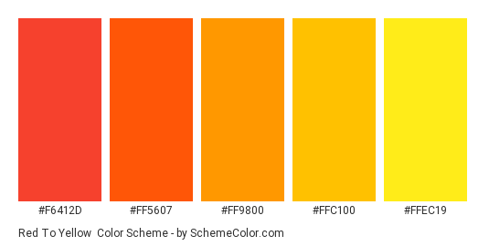 Red To Yellow Color Scheme Palette Thumbnail F6412d Ff5607 Ff9800