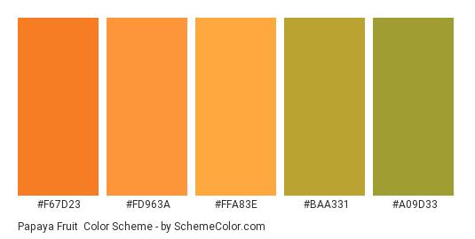 Papaya Fruit - Color scheme palette thumbnail - #f67d23 #fd963a #ffa83e #baa331 #a09d33