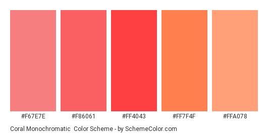 Coral Monochromatic - Color scheme palette thumbnail - #f67e7e #f86061 #ff4043 #ff7f4f #ffa078