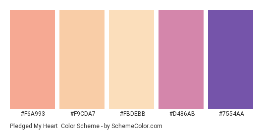 Pledged my Heart - Color scheme palette thumbnail - #f6a993 #f9cda7 #fbdebb #d486ab #7554aa