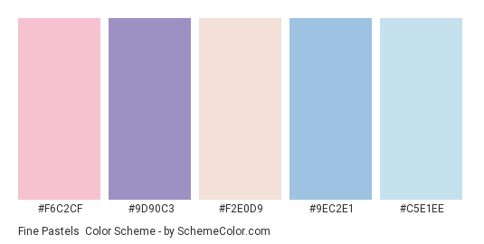 Fine Pastels - Color scheme palette thumbnail - #f6c2cf #9d90c3 #f2e0d9 #9ec2e1 #c5e1ee
