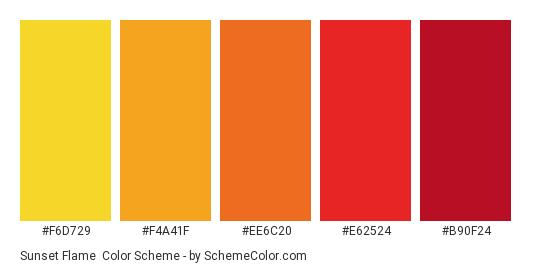 Sunset Flame - Color scheme palette thumbnail - #f6d729 #f4a41f #ee6c20 #e62524 #b90f24