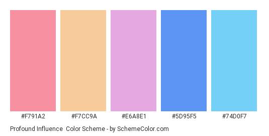 Profound Influence - Color scheme palette thumbnail - #f791a2 #f7cc9a #e6a8e1 #5d95f5 #74d0f7