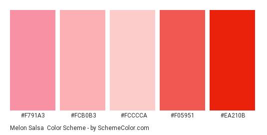Melon Salsa - Color scheme palette thumbnail - #f791a3 #fcb0b3 #fcccca #f05951 #ea210b