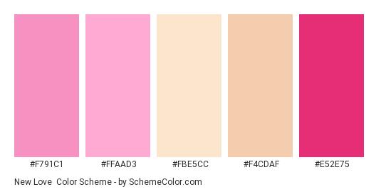 New Love - Color scheme palette thumbnail - #f791c1 #ffaad3 #fbe5cc #f4cdaf #e52e75